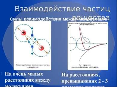Взаимодействие частиц вещества На очень малых расстояниях между молекулами об...