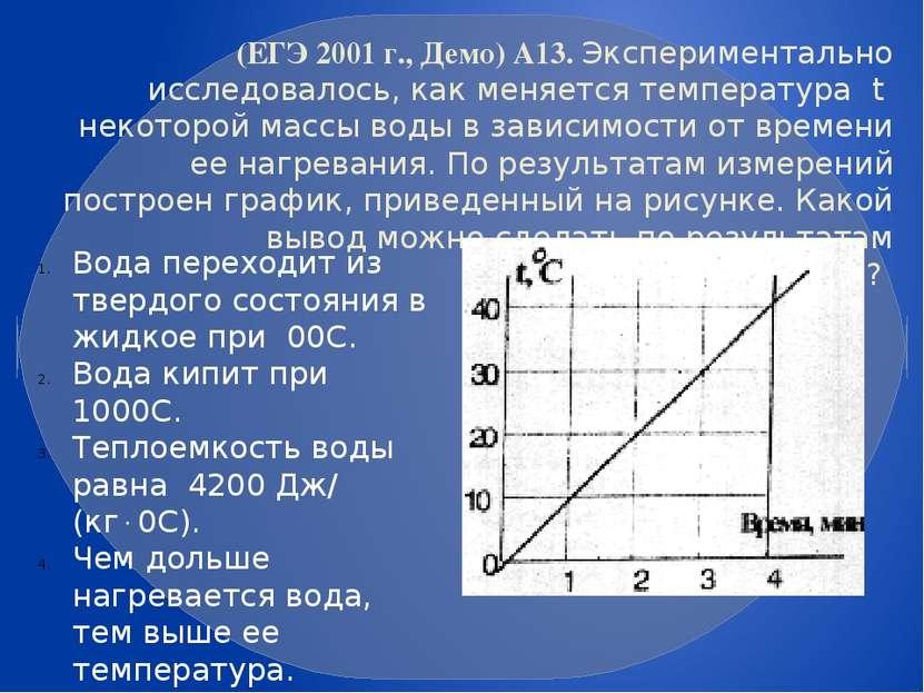 (ЕГЭ 2001 г., Демо) А13. Экспериментально исследовалось, как меняется темпера...