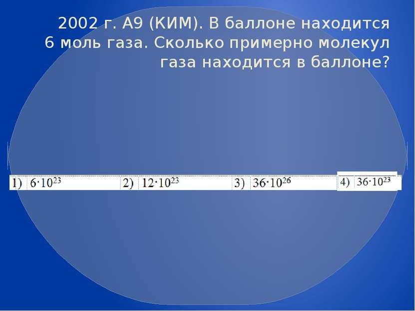 2002 г. А9 (КИМ). В баллоне находится 6моль газа. Сколько примерно молекул г...