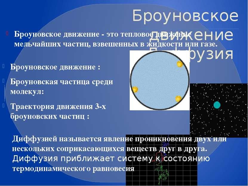 Броуновское движение Диффузия Броуновское движение - это тепловое движение ме...