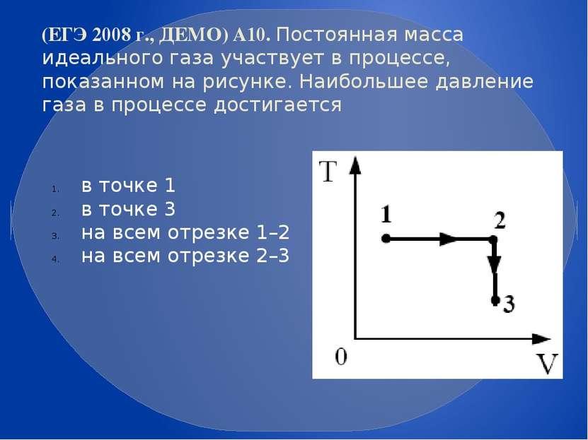 (ЕГЭ 2008 г., ДЕМО) А10. Постоянная масса идеального газа участвует в процесс...