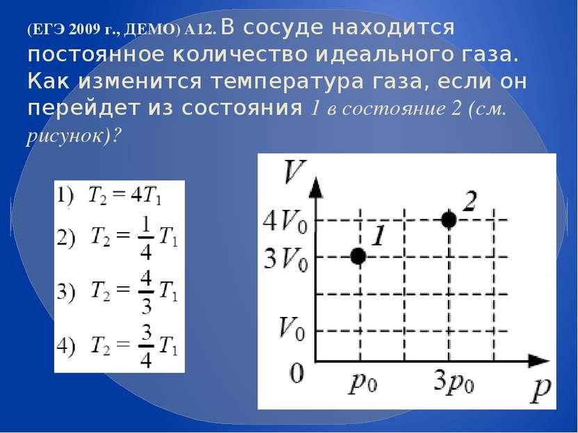 (ЕГЭ 2009 г., ДЕМО) А12. В сосуде находится постоянное количество идеального ...