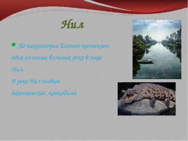 Нил По территории Египта протекает одна из самых больших река в мире Нил. В р...