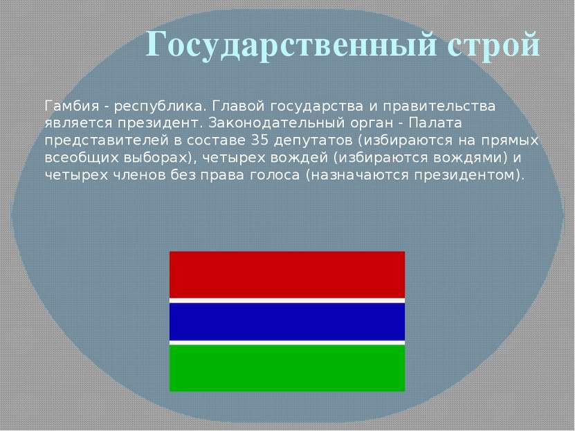 Государственный строй Гамбия - республика. Главой государства и правительства...