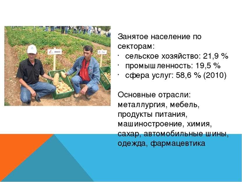 Занятое население по секторам: сельское хозяйство: 21,9 % промышленность: 19,...