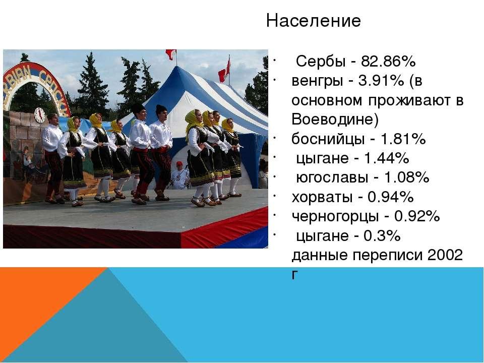 Население Сербы - 82.86% венгры - 3.91% (в основном проживают в Воеводине) бо...