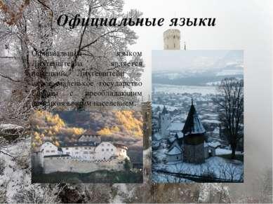 Официальные языки Официальным языком Лихтенштейна является немецкий. Лихтеншт...