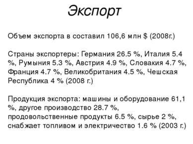Объем экспорта в составил 106,6 млн $ (2008г.) Страны экспортеры: Германия 26...