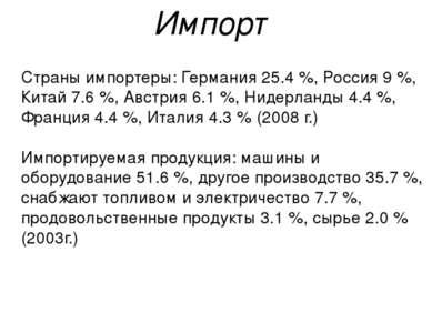 Страны импортеры: Германия 25.4 %, Россия 9 %, Китай 7.6 %, Австрия 6.1 %, Ни...