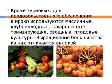 Кроме зерновых, для продовольственного обеспечения широко используются маслич...