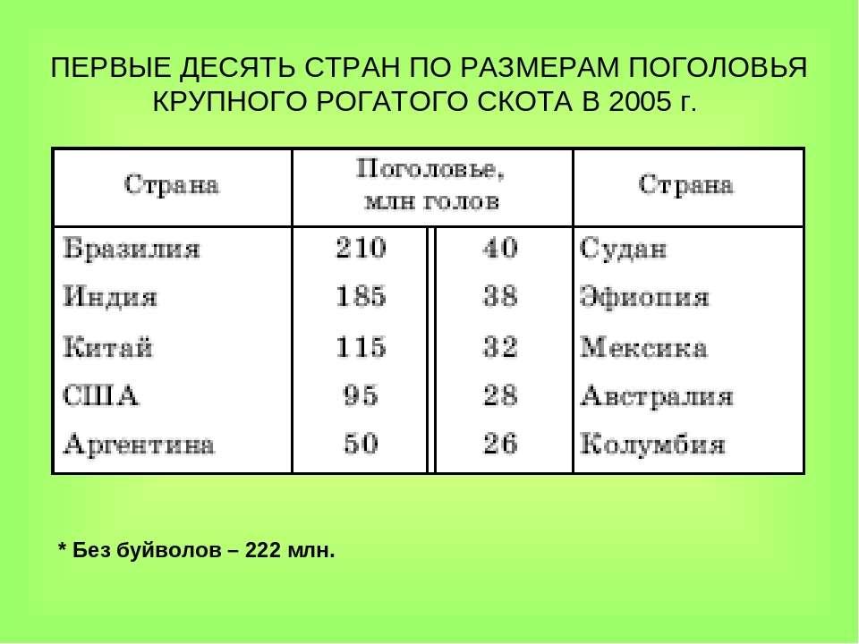ПЕРВЫЕ ДЕСЯТЬ СТРАН ПО РАЗМЕРАМ ПОГОЛОВЬЯ КРУПНОГО РОГАТОГО СКОТА В 2005г. *...