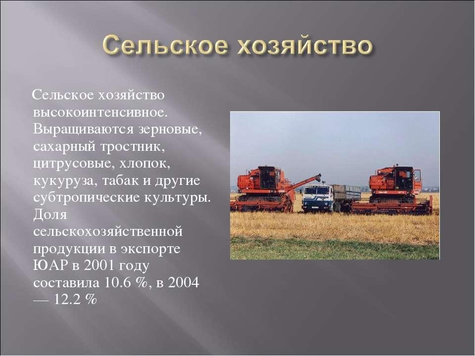 Сельское хозяйство высокоинтенсивное. Выращиваются зерновые, сахарный тростни...