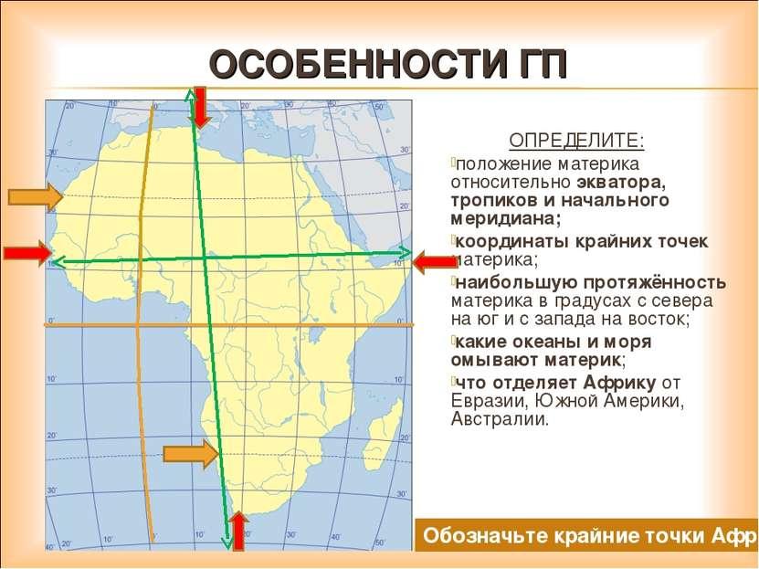 ОСОБЕННОСТИ ГП ОПРЕДЕЛИТЕ: положение материка относительно экватора, тропиков...