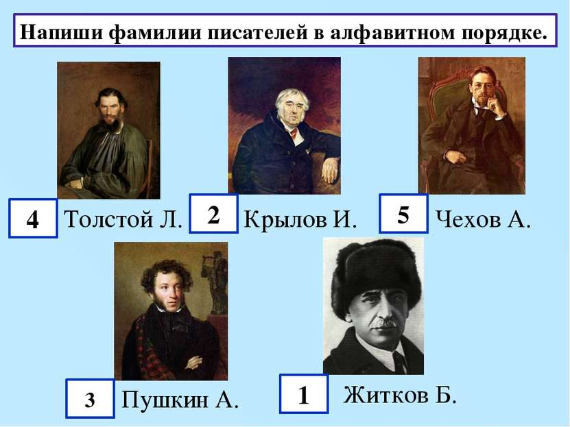Напиши фамилии писателей в алфавитном порядке. Толстой Л. Крылов И. Чехов А. ...
