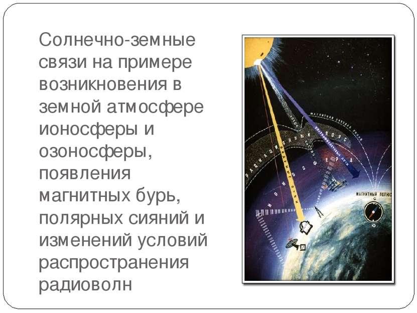 Солнечно-земные связи на примере возникновения в земной атмосфере ионосферы и...