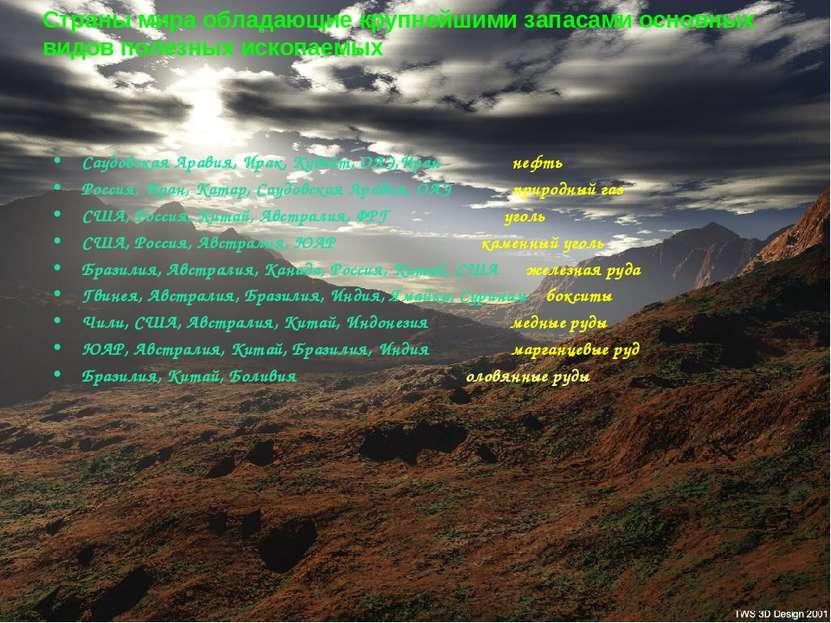 Страны мира обладающие крупнейшими запасами основных видов полезных ископаемы...