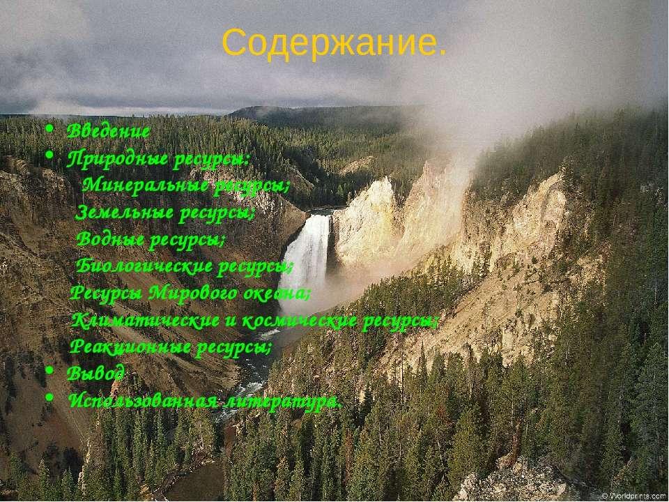 Содержание. Введение Природные ресурсы: Минеральные ресурсы; Земельные ресурс...