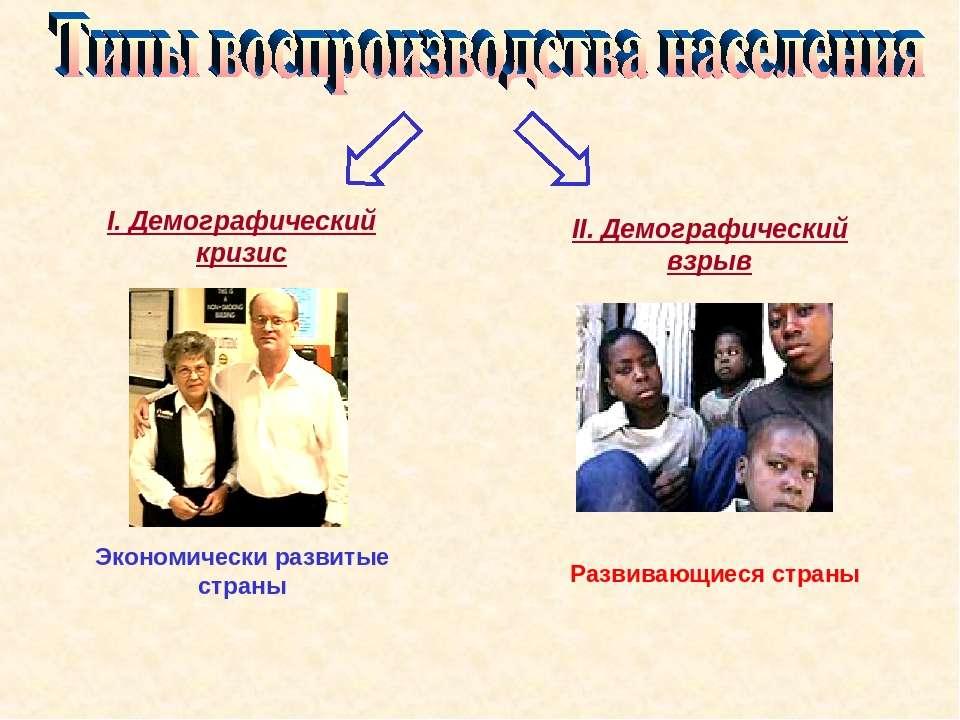 I. Демографический кризис II. Демографический взрыв Экономически развитые стр...