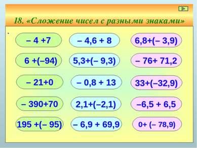 18. «Сложение чисел с разными знаками» ∙