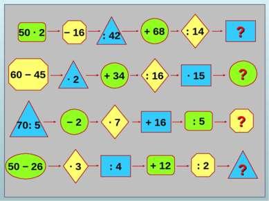50 ∙ 2 − 16 : 42 + 68 : 14 ? 60 − 45 ? : 2 ? 70: 5 ∙ 2 + 34 − 2 50 − 26 ∙ 7 :...