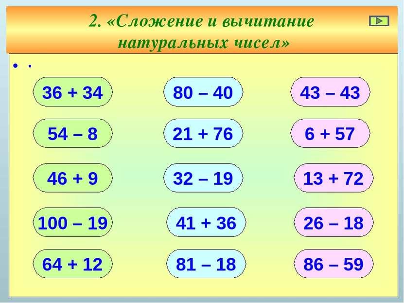 2. «Сложение и вычитание натуральных чисел» ∙ 36 + 34 54 – 8 46 + 9 100 – 19 ...