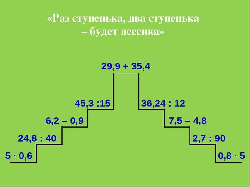 . 5 ∙ 0,6 24,8 : 40 6,2 – 0,9 45,3 :15 0,8 ∙ 5 2,7 : 90 7,5 – 4,8 36,24 : 12 ...