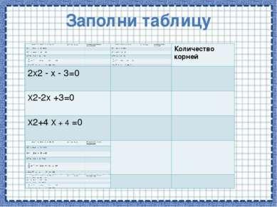 Заполни таблицу Количество корней 2Х2-x- 3=0 X2-2x +3=0 X2+4Х + 4=0