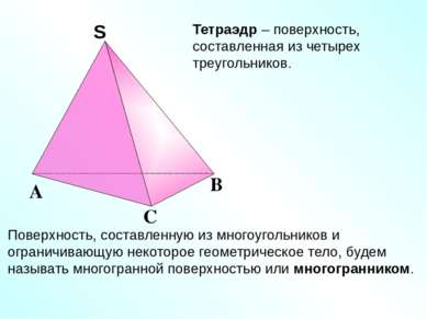 Тетраэдр – поверхность, составленная из четырех треугольников. Поверхность, с...