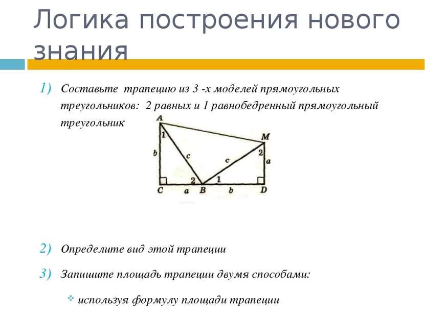 Логика построения нового знания Составьте трапецию из 3 -х моделей прямоуголь...