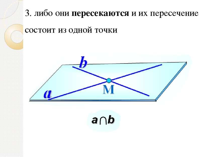 3. либо они пересекаются и их пересечение состоит из одной точки