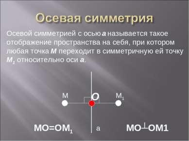 а M M1 Осевой симметрией с осью а называется такое отображение пространства н...