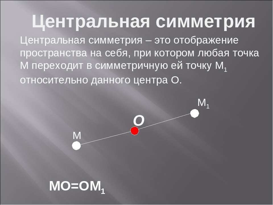 M M1 MO=OM1 O Центральная симметрия Центральная симметрия – это отображение п...
