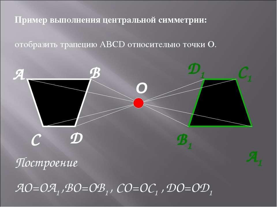 O А B А1 D D1 C1 B1 C Пример выполнения центральной симметрии: отобразить тра...