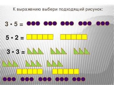 К выражению выбери подходящий рисунок: 3 • 5 = 5 • 2 = 3 • 3 =