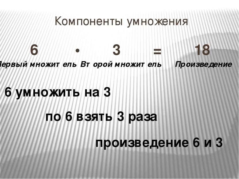 Компоненты умножения 6 • 3 = 18 Первый множитель Второй множитель Произведени...