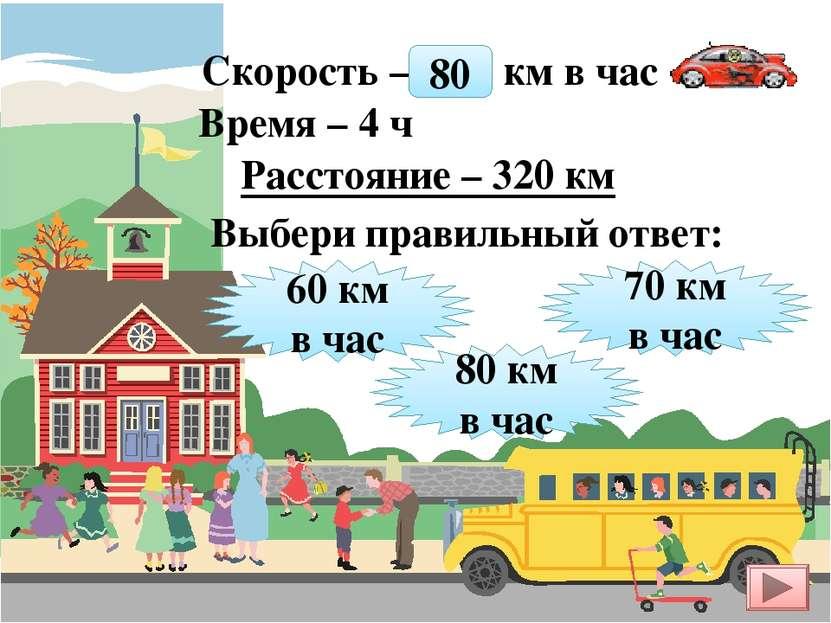 Скорость – ? км в час Время – 4 ч Расстояние – 320 км 60 км в час 80 км в час...
