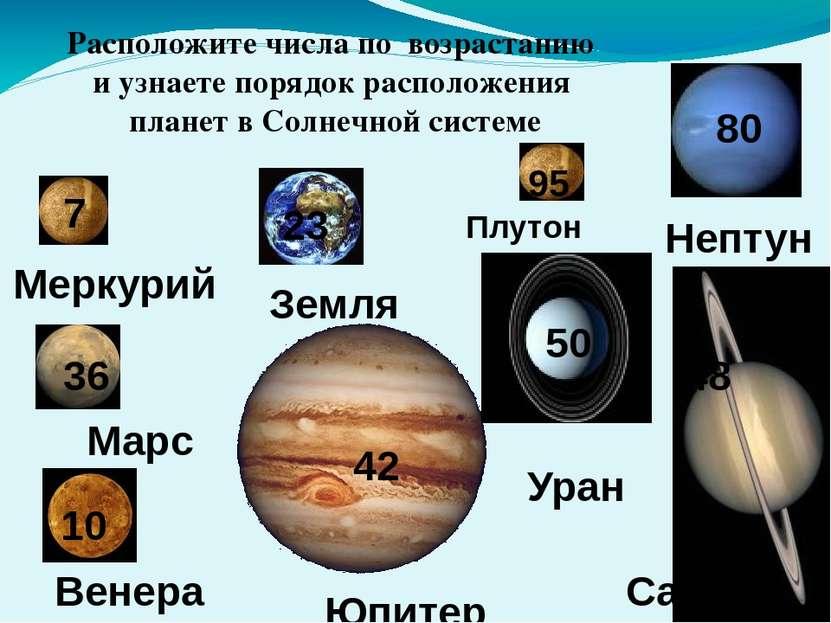 Меркурий Венера Земля Марс Юпитер Сатурн Уран Нептун 7 10 23 36 42 48 50 80 Р...