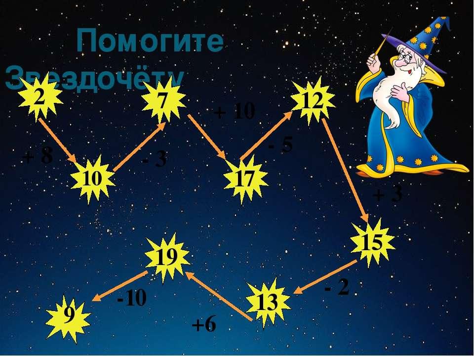 Помогите Звездочёту 12 17 7 2 10 15 13 19 6 + 8 - 3 + 10 - 5 + 3 - 2 +6 -10
