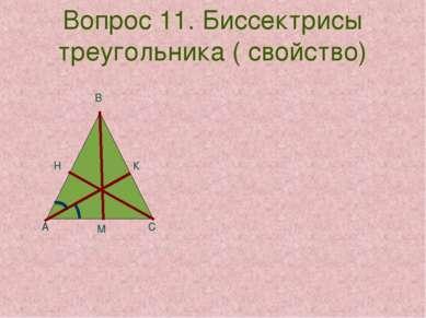 Вопрос 11. Биссектрисы треугольника ( свойство) К А В С Н М
