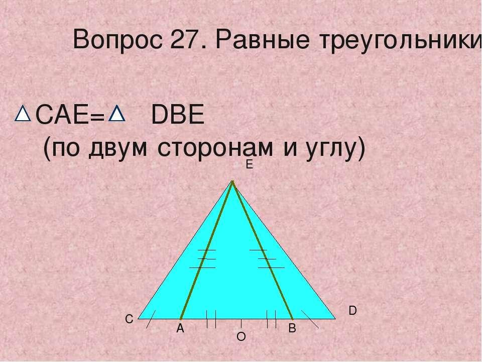 О А В С D Е Вопрос 27. Равные треугольники CAE= DBE (по двум сторонам и углу)