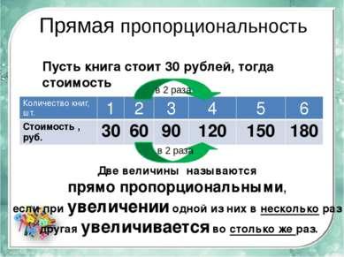 Прямая пропорциональность Пусть книга стоит 30 рублей, тогда стоимость Две ве...