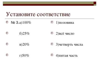Установите соответствие № 3.а)100% б)25% в)20% г)50% 1)половина 2)всё число 3...