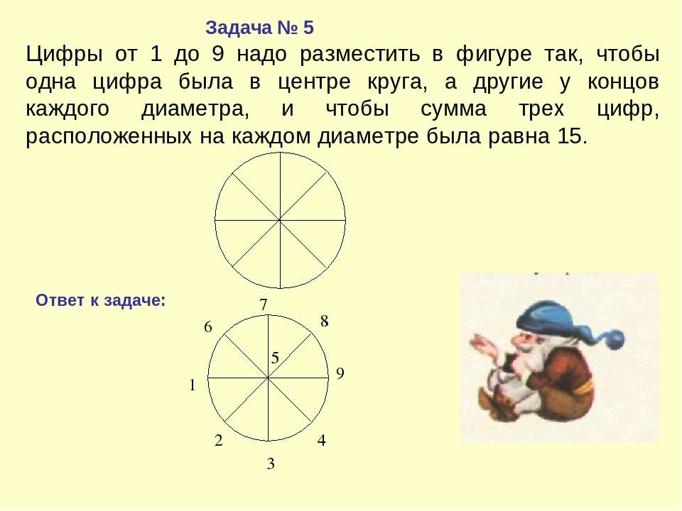 Цифры от 1 до 9 надо разместить в фигуре так, чтобы одна цифра была в центре ...