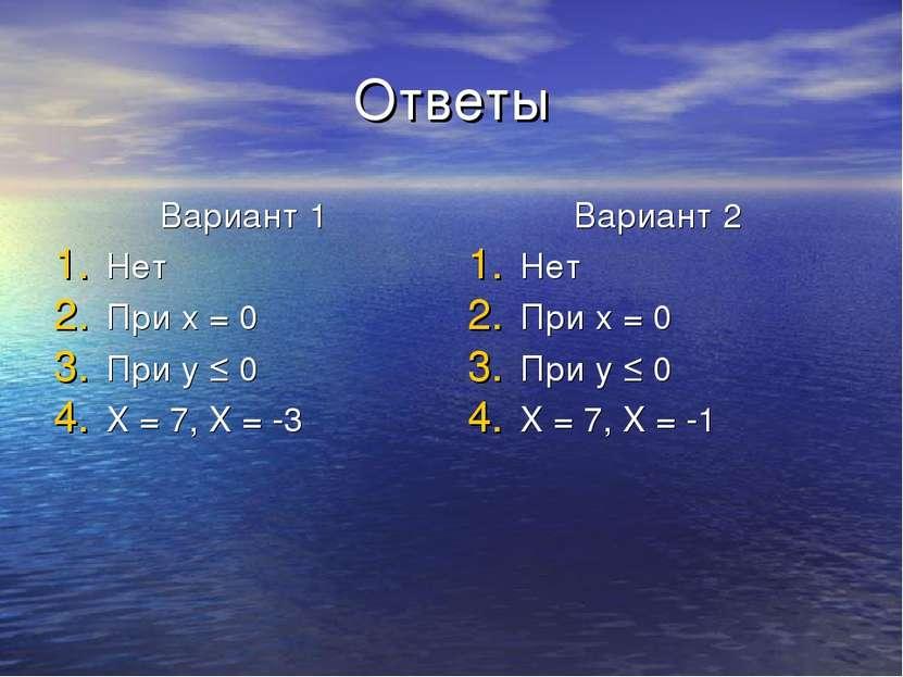 Ответы Вариант 1 Нет При x = 0 При y ≤ 0 X = 7, X = -3 Вариант 2 Нет При x = ...
