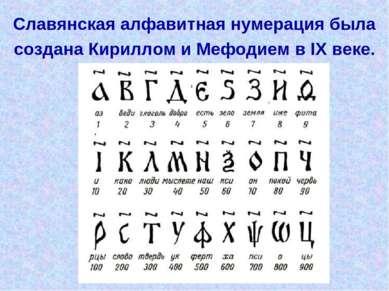 Славянская алфавитная нумерация была создана Кириллом и Мефодием в IX веке.