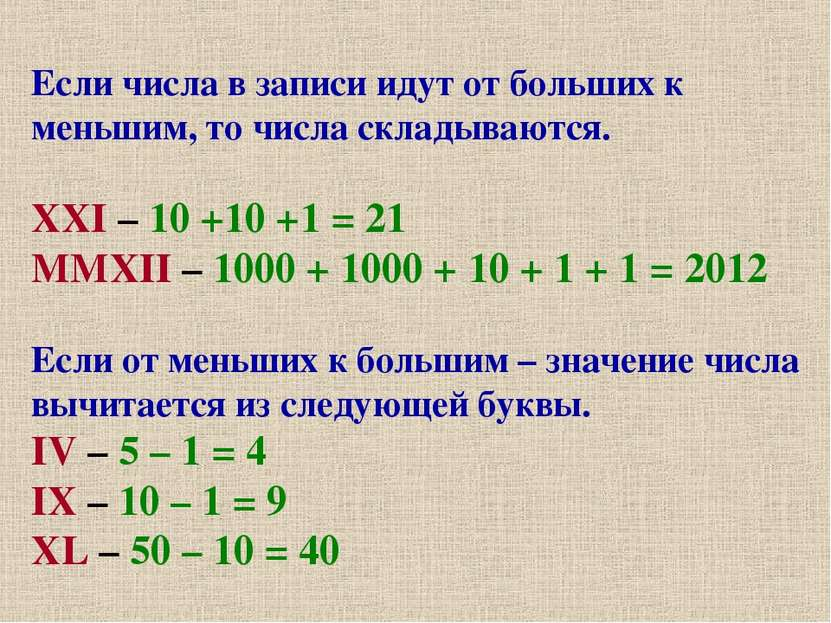Если числа в записи идут от больших к меньшим, то числа складываются. XXI – 1...