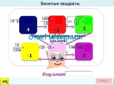 Веселые квадраты VN Ответ неверный! Открывай квадраты и решай примеры! Результат