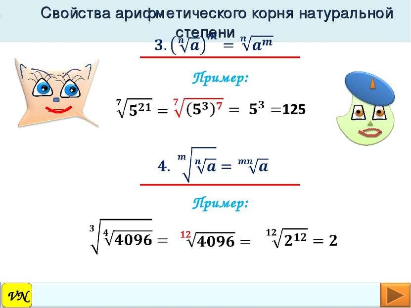 VN Свойства арифметического корня натуральной степени Пример: Пример: