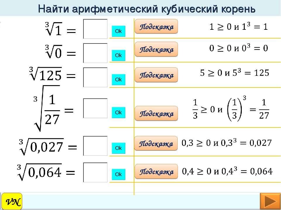 VN Найти арифметический кубический корень Подсказка Подсказка Подсказка Подск...