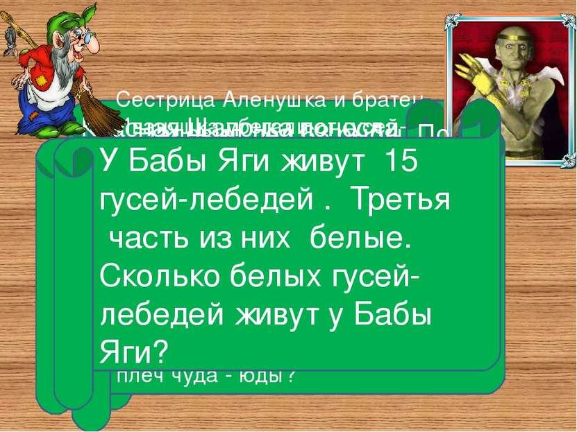 Сестрица Аленушка и братец Иванушка убегали от гусей-лебедей. На пути им встр...